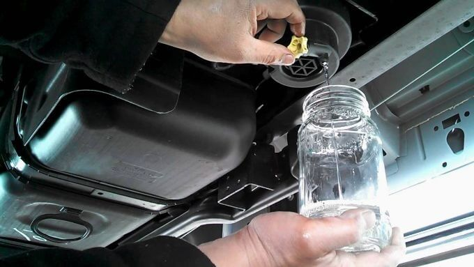 filtro de agua combustible drenaje