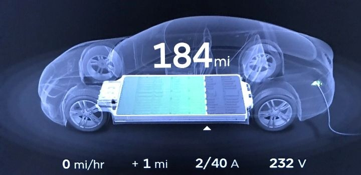 tesla bateria en carga pantalla signal